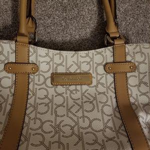 Calvin Klein CK logo beige tan purse shoulder bag
